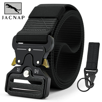 JACNAIP Tactical belt Nylon Army Belt new mens military multifunction buckle outdoor sports hook 125/135cm Wide3.8cm