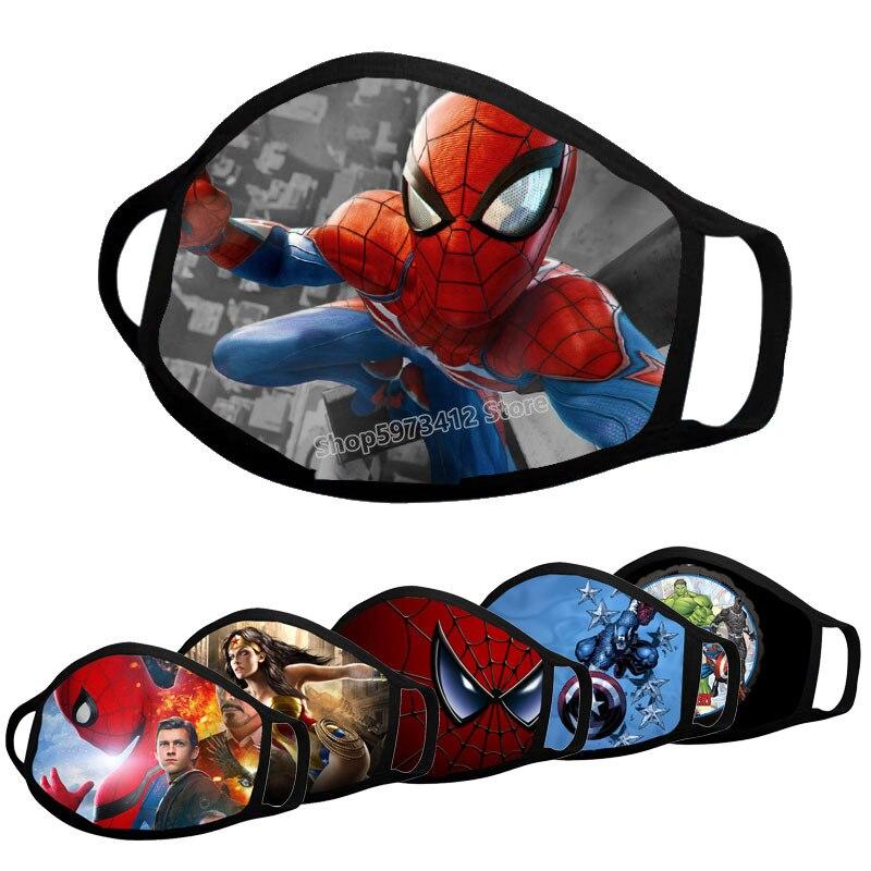 Masque facial ferme Spider-Man 100% coton pour enfants et adultes, protection Anti-poussière, Cosplay, série Disney