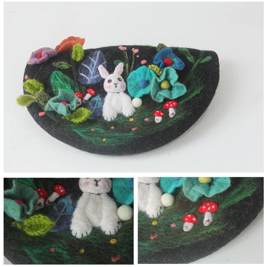 Leuke Konijn Handgemaakte Wolvilt Baret Hand geborduurd Kinderlijke Baretten Caps voor Vrouwen Creative Schilder Hoed Kerstcadeau Hoeden - 4