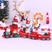 Christmas Train Painted Wood With Santa/bear Xmas Kid Toys Gift Ornament Toy christmas decorations for home(China)