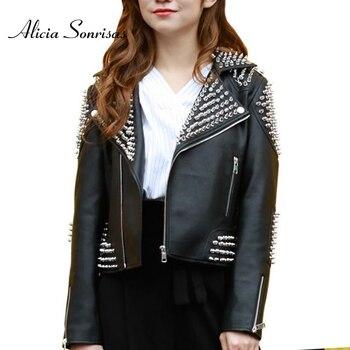 Women Punk Studded Leather Jacket Black Spring New Rivet Washed PU Biker Rock Fashion Coat L18BD290 1
