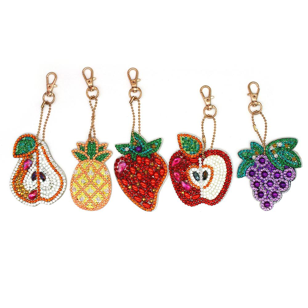 HeeBenor Store New Fruit DIY Keychain KeyBuckle Diamond Painting Jewelry Keyring Cross Stitch Bag Pendant Ornament YSK36