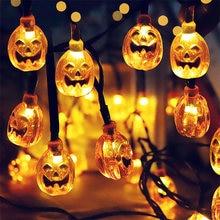 Guirlande lumineuse 1.5, LED m, décoration d'halloween, maison, fête en plein air, citrouille fantôme chauve-souris, bannière joyeux Halloween