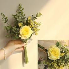 New Artificial Flower Rose Peony Silk Flowers Small Bouquet Home Party Spring Wedding Decoration