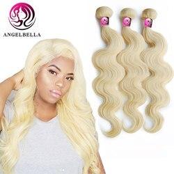 Angelbella 613 cheveux blonds brésilien vague de corps 1/3/4 Bundle pur vierge cheveux armure 24 26 28 30 pouces vierge cheveux faisceaux armure