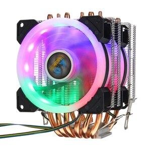 6 нет процессорный кулер вентилятор 3 линии Rgb светодиодный вентилятор охлаждения тихий вентилятор Cooler Радиатор для 775/1150/1151/1155/1156/1366 для Amd вс...