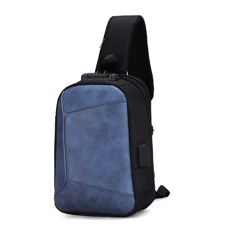 Couro do plutônio masculino peito bolsa de ombro usb faixa reflexiva saco mensagem para ginásio ao ar livre caminhadas com bloqueio anti roubo