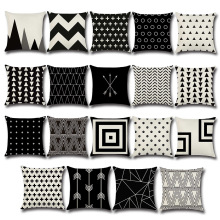 Black and White Pillow Decorative Geometric Cushion Covers Pillowcase for Sofa Polyester 45*45 Throw Pillow Covers Pillowslip