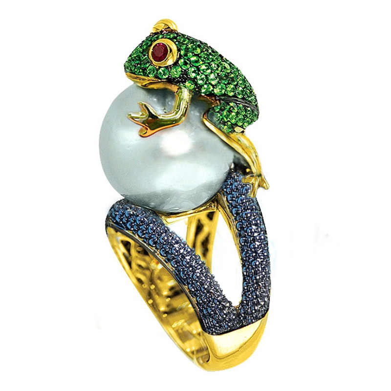 Huitan 2019 New Animal Rings Funny Frog Hug Simulated Pearl Shaped Vintage Rough Surface Birthday Gift For Child Green Style