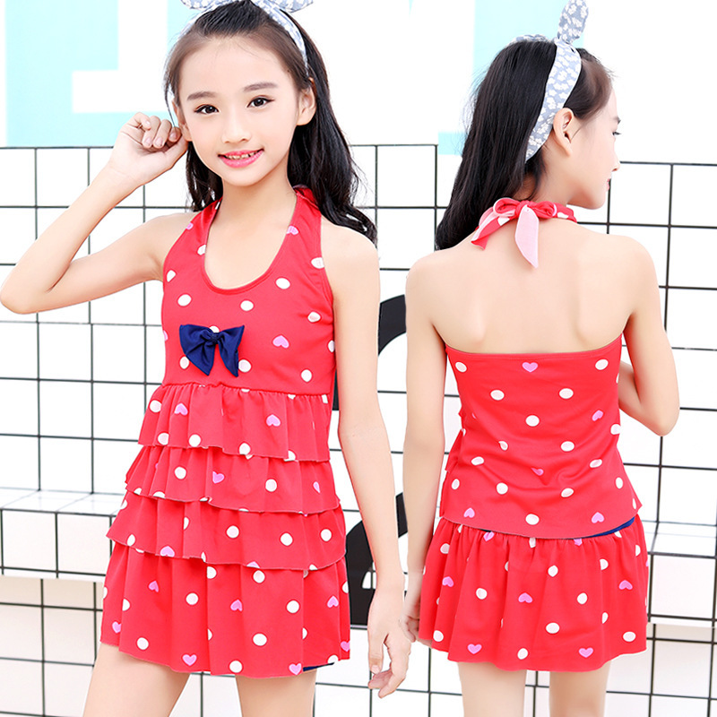 2019 New Style Korean-style Girls Cute Dress-Bathing Suit Dotted Big Boy Swimwear