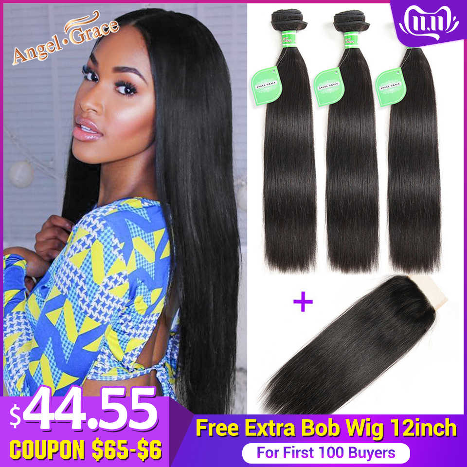 Angel Grace Hair Brazilian Straight Hair Bundles With Transparent/HD Lace Closure Remy Human Hair Weave 3 Bundles With Closure
