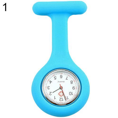 Модные повседневные женские часы Fob, милые силиконовые часы, часы для медсестры, брошь Fob, туника, кварцевые часы с механизмом, медицинские часы, reloj de b - Цвет: Sky Blue