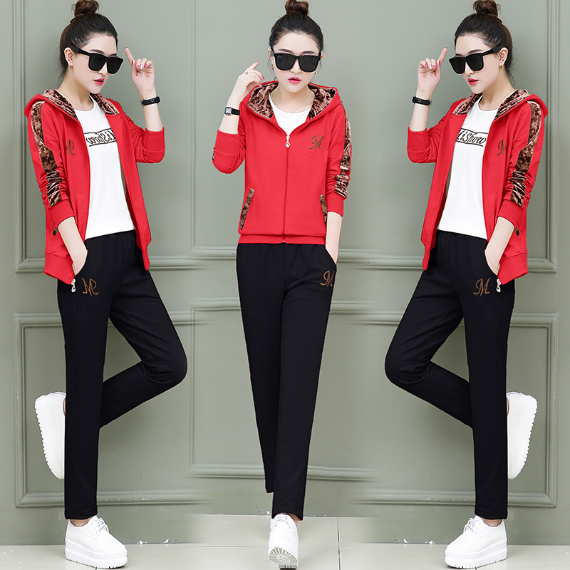 Womens Sports Suits Hooded Tops Tracksuit 3 Piece Set Women Sportswear Jogging Track Suit Women Sport Set Three Piece Set Female