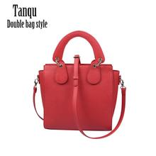 2020 Tanqu New O bag Double Style bag With Concise Curved Removable Drops Belt Handle For PU Leather Obag Waterproof Women Bag