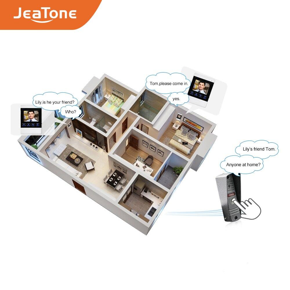 Купить с кэшбэком JeaTone 1200TVL Wired Door Bell 1200TVL Front Door Camera Video Monitoring Unlocking Talking Intercom System Doorphone