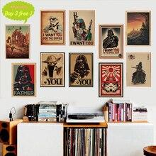 Película clásica Vintage póster de La Guerra de Las Galaxias Café Bar decoración del hogar Retro papel Kraft Adhesivo de pared