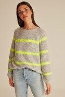 Bike Collar Neon Striped Knitwear Sweater
