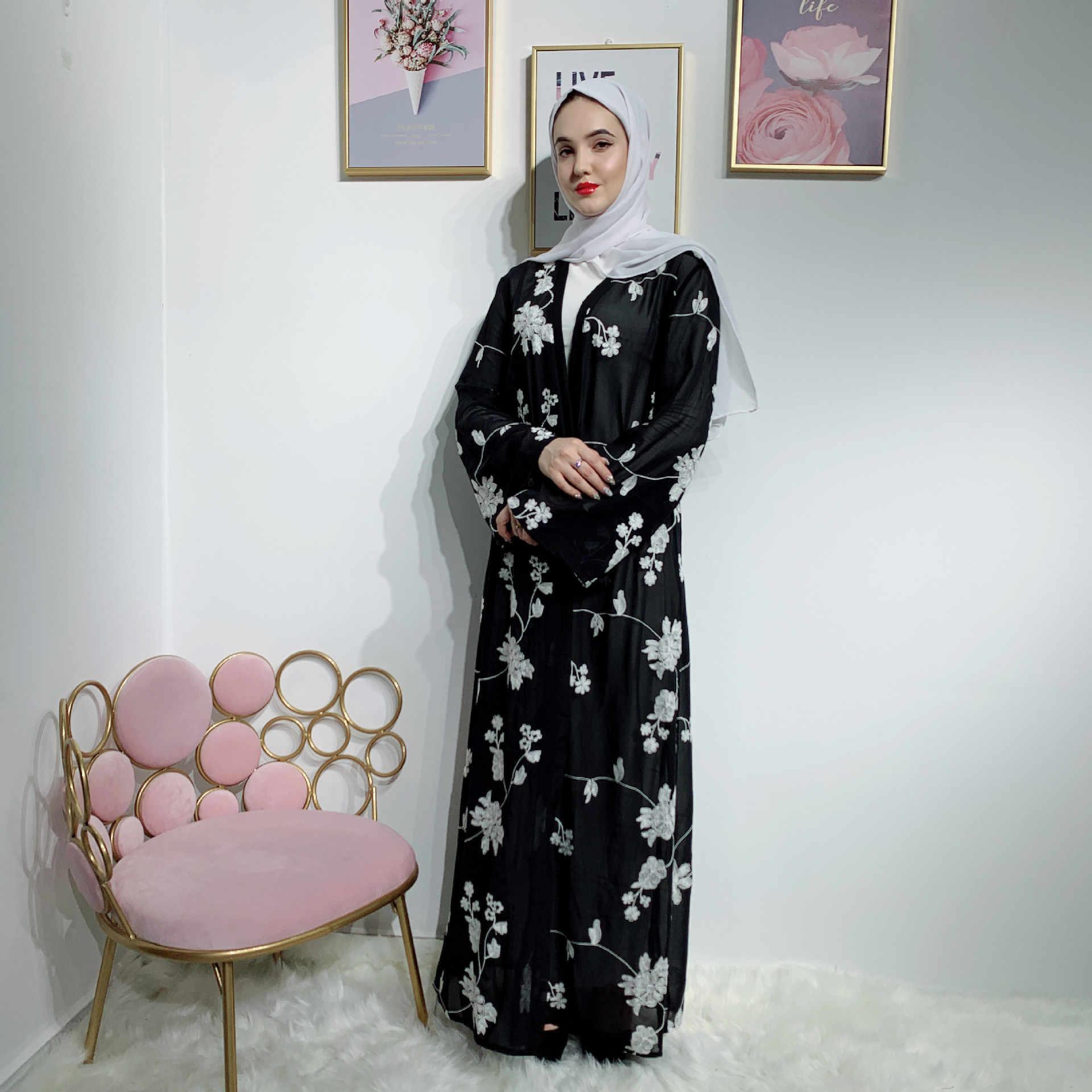 Elegante Moslim Print Abaya Vest Maxi Jurk Kimono Lange Gewaden Vrouwelijke Vestidos Midden-oosten Ramadan Turkse Islamitische Gebed