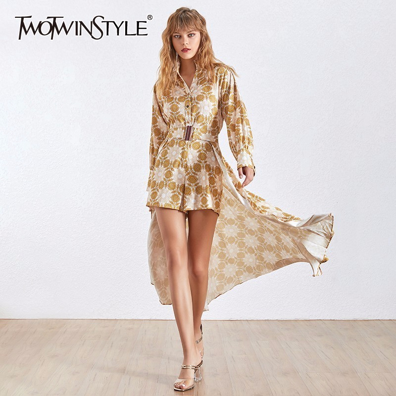 TWOTWINSTYLE Vintage Printed Women Suits V Neck Lantern Sleeve High Waist Playsuits With Midi Skirt Female Two Piece Sets 2020