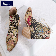 2018 New Women Luxury Silk Boots Martin Ankle Autumn Winter Embroider Womens Motorcycle Lace Up Shoes Woman