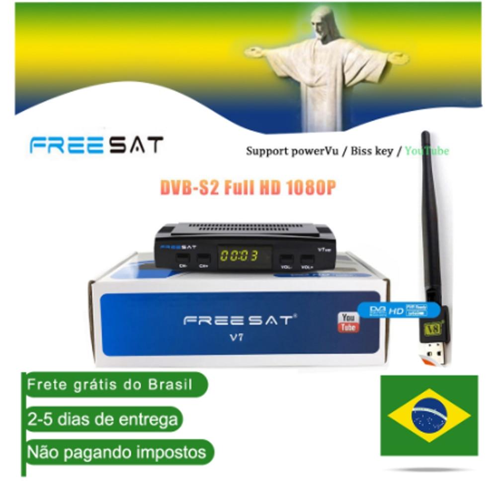 Freesat V7 Hd Satellite TV Receiver Full HD DVB-S2 + USB Wifi Receptor Ship From Brazil CCcam Support Youtube Satellite Decoder