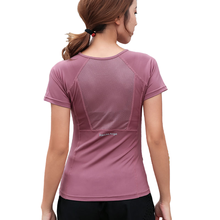 Summer Autumn Women Quick Dry Fitness T-Shirt Sport Top Short Sleeve Back Mesh  Gym Clothes Yoga Shirts Workout Tops Mujer