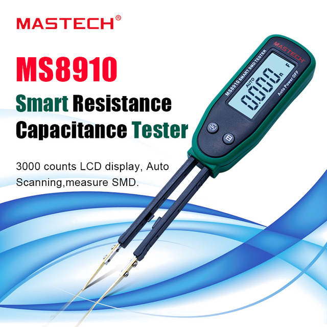 High quality Tweezers Smart SMD RC Resistance Capacitance Diode Meter Tester LCD Multimeter MS8910,3000 counts Auto Rang/ Scan