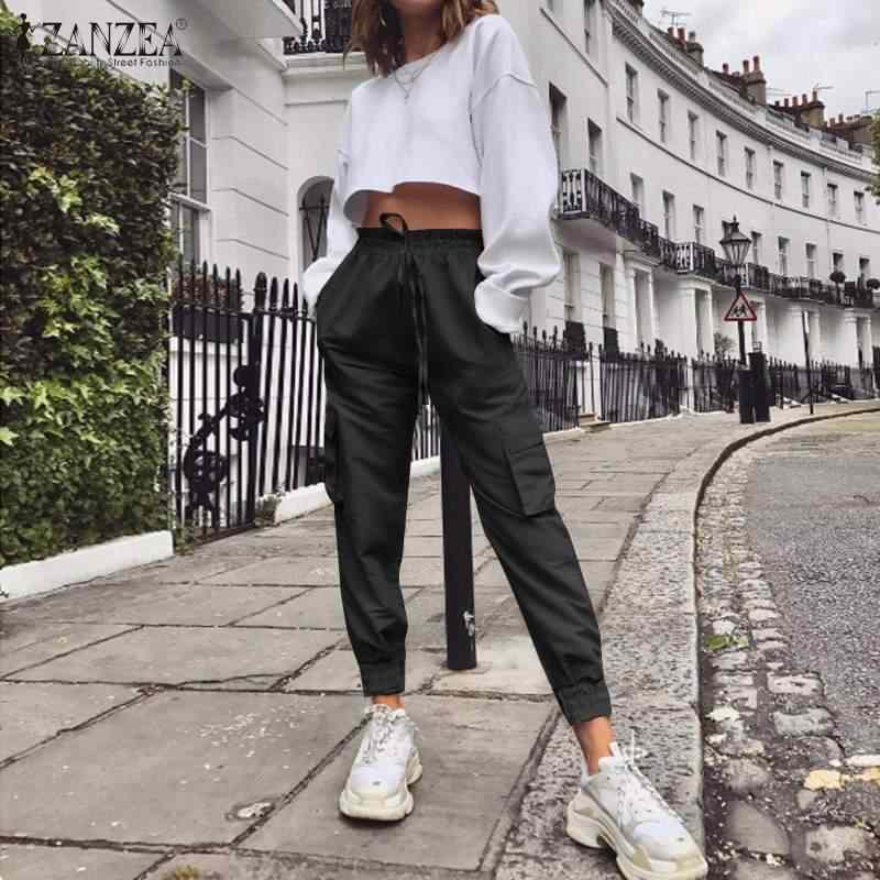 ZANZEA delle Donne dei Pantaloni Femminili Pantaloni Lunghi Pantalones 2020 di Modo Della Signora Solido di Alta Wiast Pantaloni Casual Tasche Cargo Pantaloni Streetwear