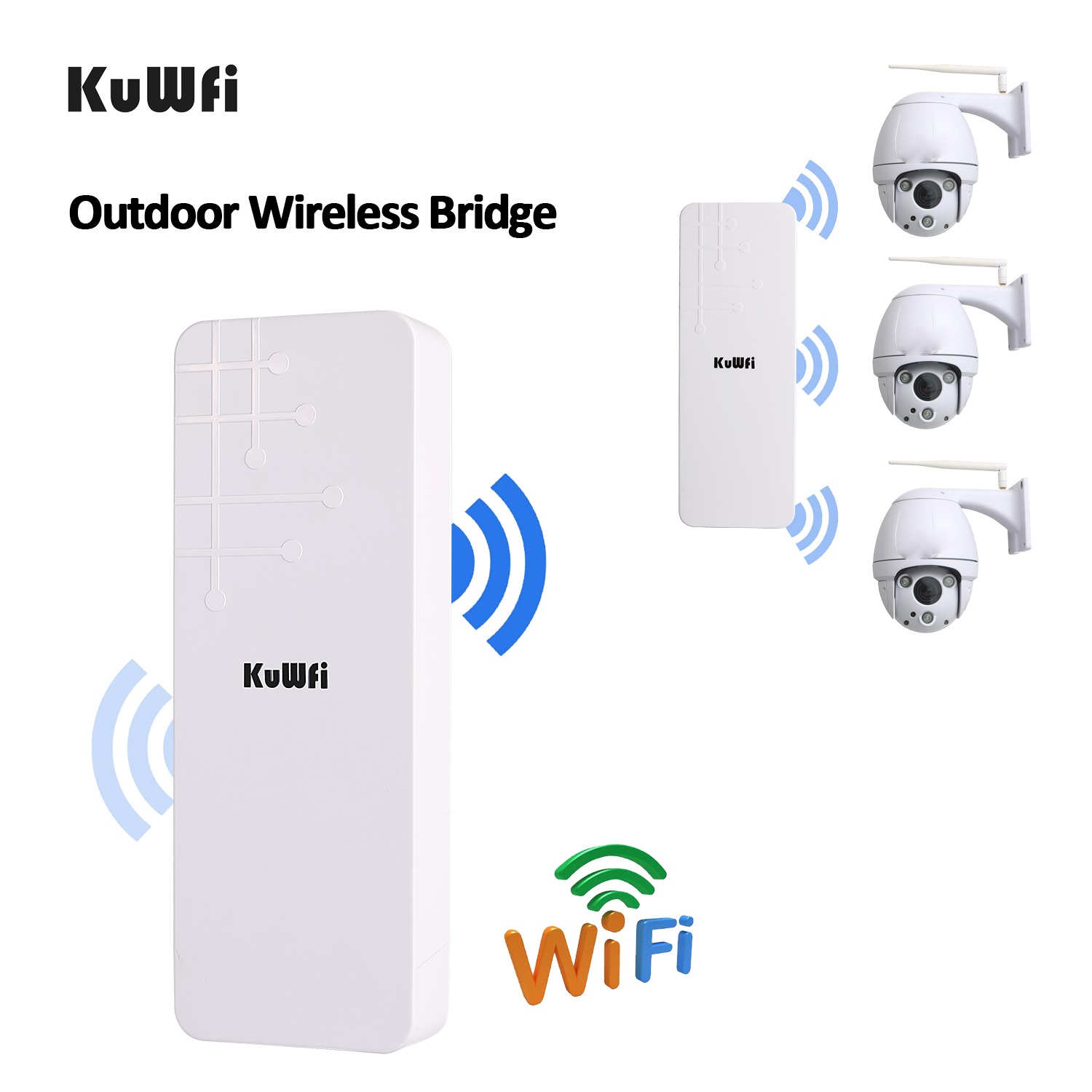 KuWfi Wireless Router 300Mbps 2.4G Outdoor&Indoor CPE Router 1-3KM Long Distance Wireless Repeater Wifi Bridge Extender Wifi