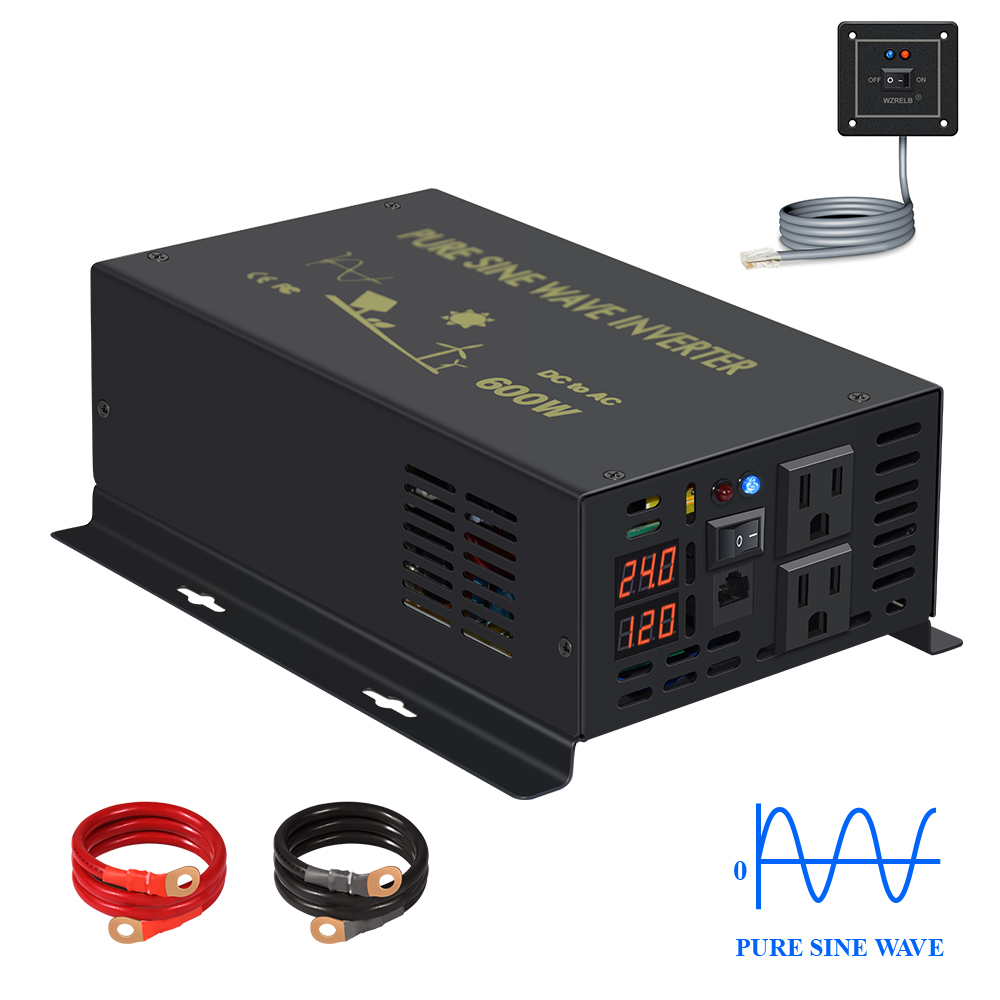 Wired Control Pure Sine Wave Inverter 600W Solar Panel Inverter Battery 12V/24V/48V/96V/110V DC to AC 120V/220V/240V Converter