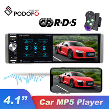 Podofo Car Radio Smart AI Voice 1Din 4.1'' MP5 Player Support Dual USB FM AM RDS Rear Mic Input Subwoofer Output For Universal