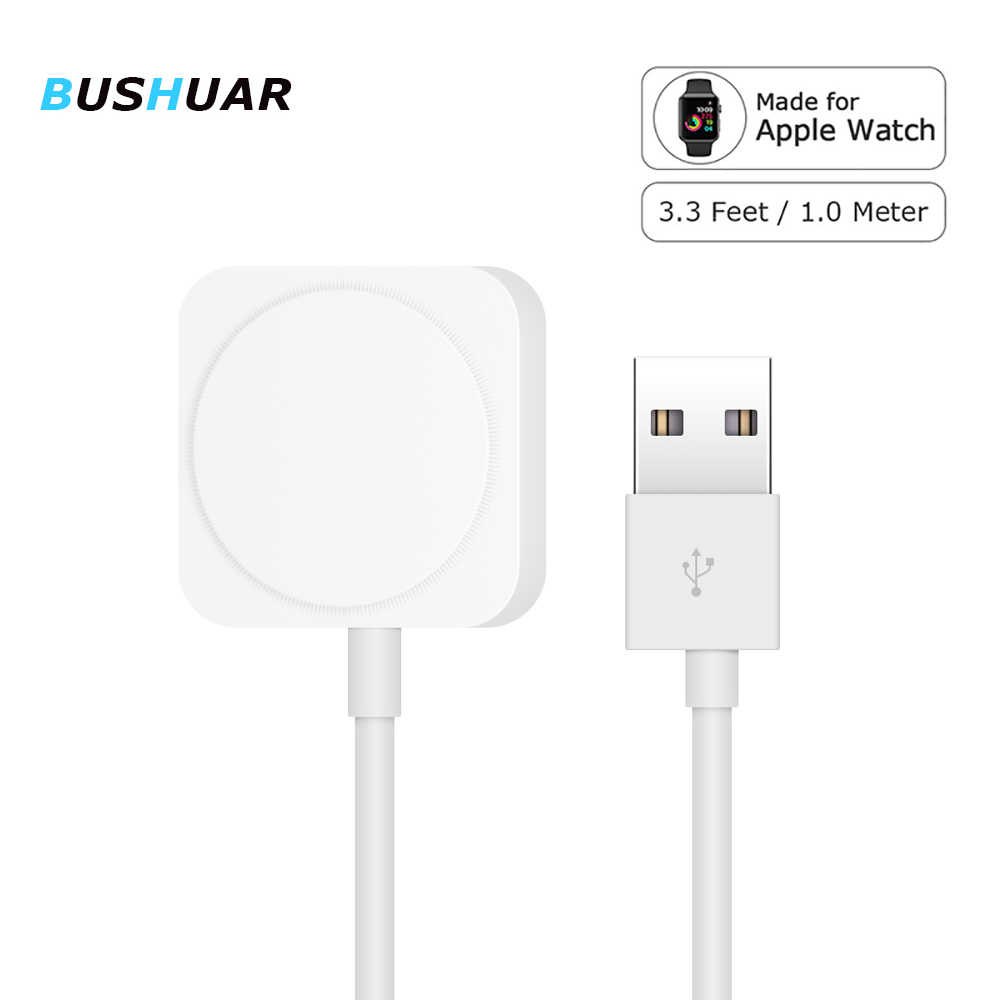 Cable cargador Bushuar para Apple Watch cargador inalámbrico magnético Cable USB 1M adaptador para Apple Watch Series 4 3 2 1