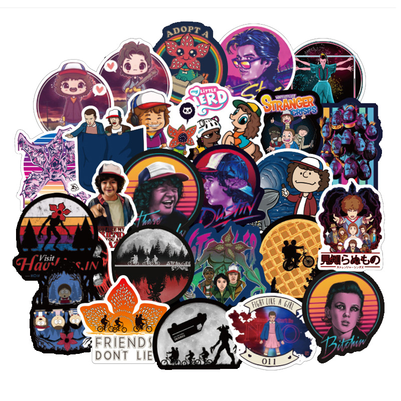 50 Pcs Don't Repeat Waterproof Stranger Things Stickers Skateboard Suitcase Snowboard Fridge Laptop Sticker Kids Classic Toy