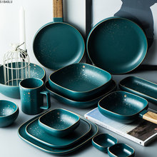 Alta moda retro verde nórdico conjunto de louça cerâmica conjunto tigela placa tigela conjunto tigela de sopa estilo moderno