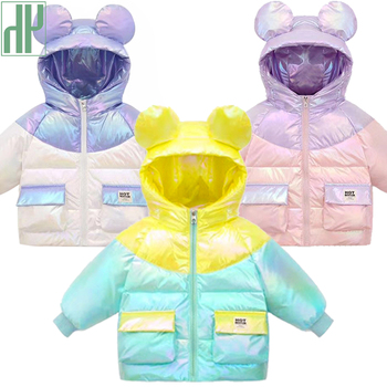 HH Hot Autumn Winter Jacket For Girls Boys Warm Down Coat Cute Ear Clothes Baby Hooded Outerwear Children Toddler Infant Parkas croal cherie 100 160cm two sided winter jackets girls coat for teenage girls cotton children s parkas cute baby boys outerwear