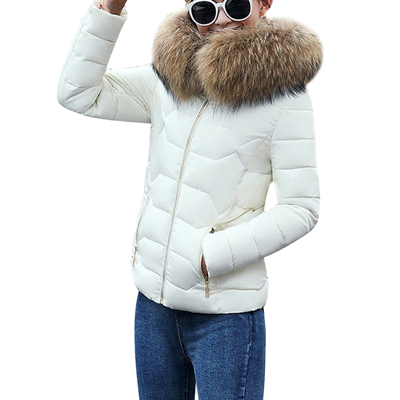 Image 5 - Winter Down Jackets Women Fashion Warm Coat Cotton Thickening  Parka Fur Collar Jackets with Hooded Detachable Cap Winter  ClothesParkas