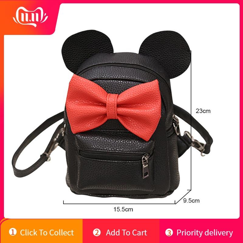 Mickey Mouse Women Leather Back Pack Bag Children Mini Teenage Girls Cute Ear