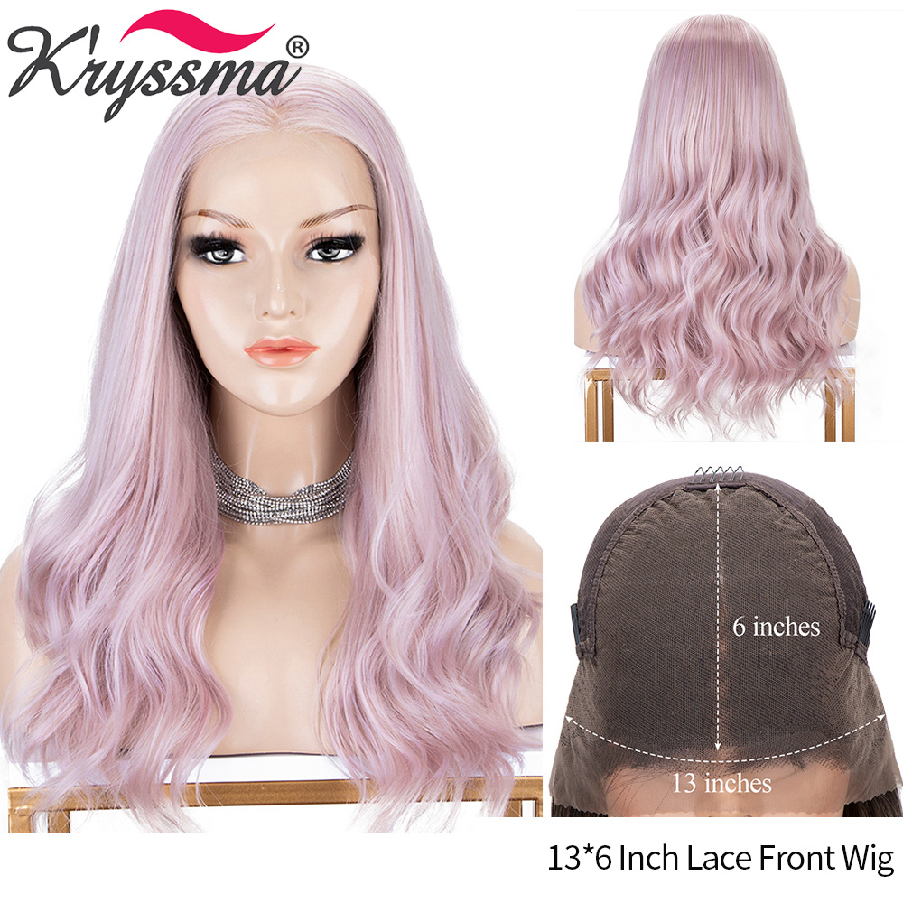 Kryssma Highlight Pink Wigs 13x6 Synthetic Lace Front Wigs For Women Long Wavy Cosplay Lace Front Wig High Temperature Hair