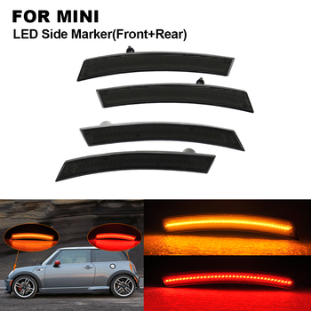 4pcs Smoked  LED Car Side Marker Lamp Light For MINI R50 R52 R53 Front Side Marker(Amber) Rear Side Marker(Red) Car Accessories
