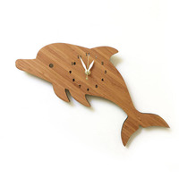 12 inch Bamboo Dolphin Clock for Home Wall Decor Cartoon Animal Bamboo Clocks Animals Europe Modern design Kids Room Decoration