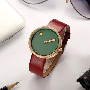 Image 4 - 탑 크리 에이 티브 디자이너 브랜드 쿼츠 시계 남성 가죽 캐주얼 남여 간단한 손목 시계 시계 남성 선물 relogio Masculino