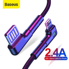 Baseus Game USB Cable for iPhone 11 Pro Max Xs XR 2.4A ELbow Fast Charging for iPhone SE 8 7 Plus LED Charger Cable Data Cord