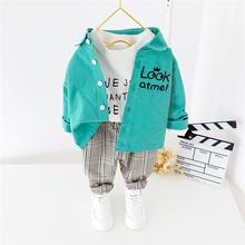 HYLKIDHUOSE zestawy ubrań dla chłopców 2020 wiosna maluch odzież dla niemowląt koszula z długim rękawem spodnie w kratę zestawy ubrań dla dzieci tanie tanio COTTON Moda Skręcić w dół kołnierz Pojedyncze piersi Pełna REGULAR Pasuje prawda na wymiar weź swój normalny rozmiar