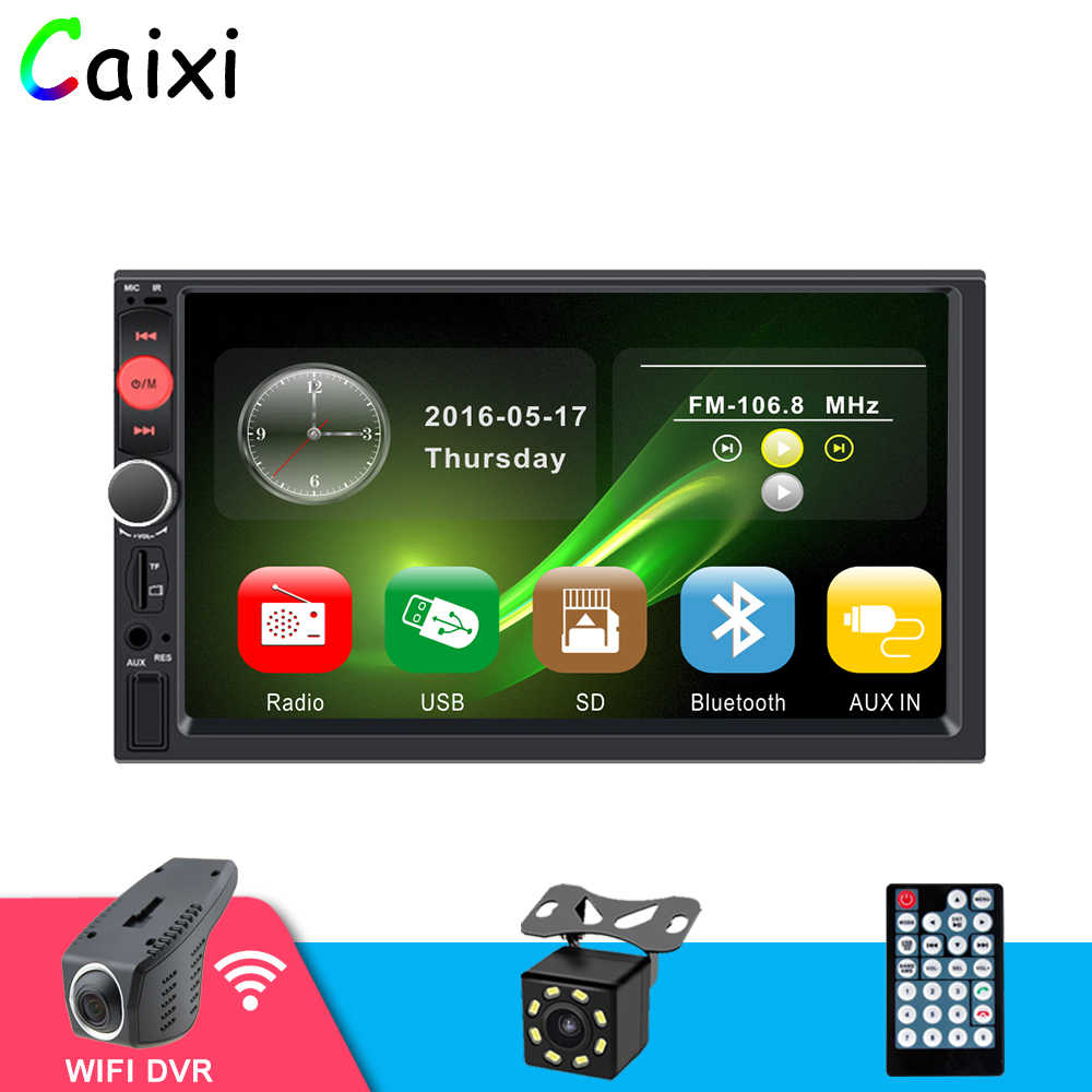 "2 DIN Mobil Multimedia Player Auto Radio 2 DIN Stereo HD 7 ""Video Player Auto Radio Cadangan Kamera dengan android iPhone Cermin Link"