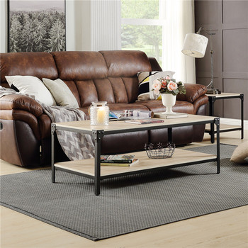 Industrial Coffee Table for Living Room With Storage Shelf Rivet Design Wood Look Accent Furniture Oak