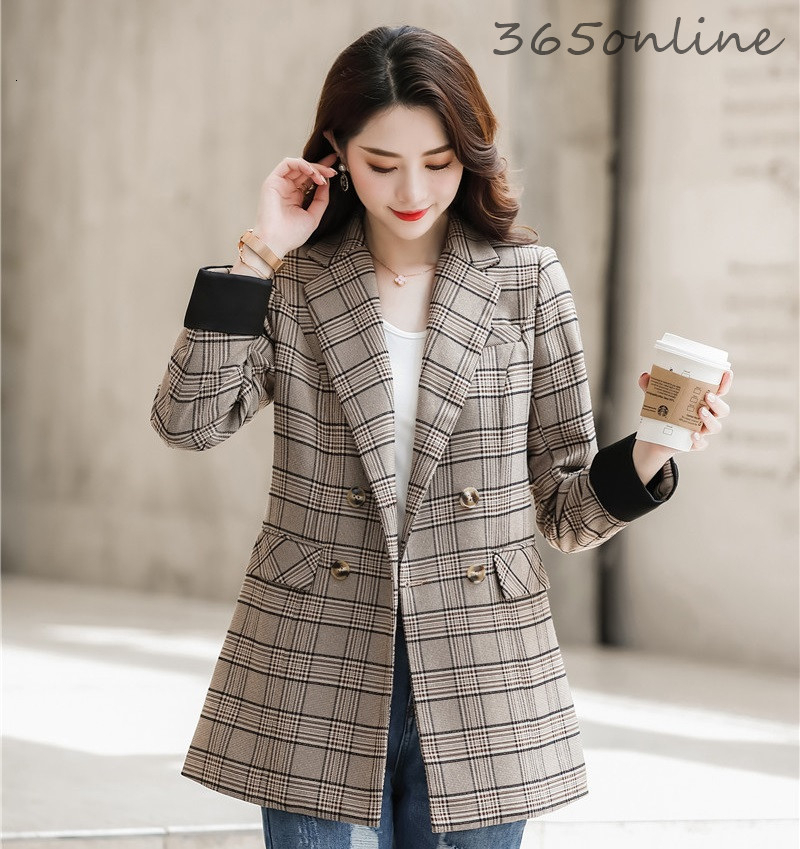 Women Double Breasted Casual Long Sleeve Blazers Jackets Coat Formal OL Styles Autumn Winter Business Work Wear Outwear Blaser