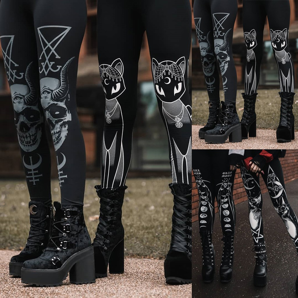 Gothic Style Stretch Skinny Leggings Women Fashion Goth Sneaker Print Casual Autumn Winter High Waist Women Leggings Jeggings