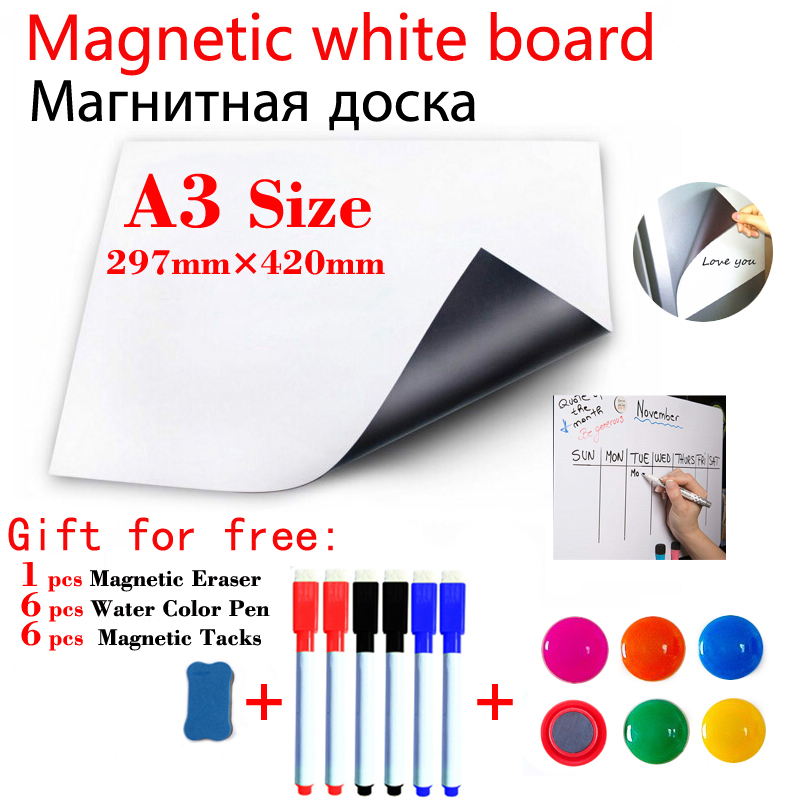 Dry Erase White Boards A3 Size Fridge Stickers Magnetic WhiteBoard Kids Home Office School Message Boards Magnets Wall Stickers