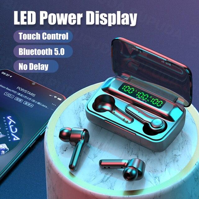Écouteurs sans fil Bluetooth, oreillettes avec micro, affichage de puissance LED, casque découte pour sport, étanche, HiFi, stéréo, musique