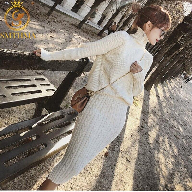 SMTHMA High Quality Woman Long Sleeve Turtleneck Knitted Pullover Sweater +2 Piece Set Women Split Skirt Set